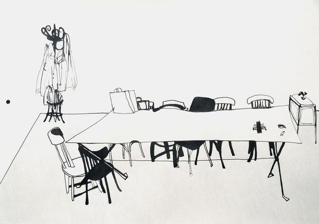 Nina Gross Zeichnung drawing art Kunst Stuhl Tisch