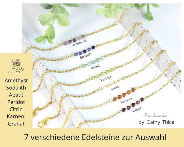 Chakra Edelstein Armband 3 mm mit Edelstahl