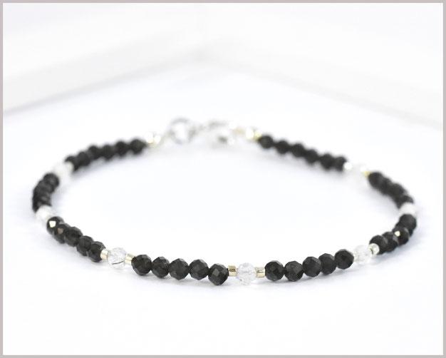 Edelsteinarmband mit 3 mm Obsidian und Bergkristall