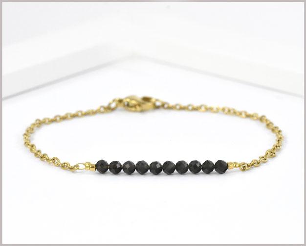 Obsidian Edelstein Armband 3 mm mit Edelstahl vergoldet - Länge wählbar