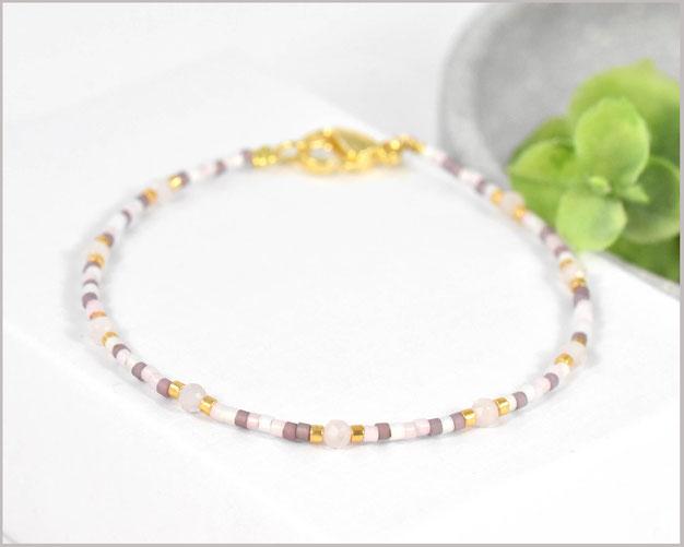 Rosenquarz Edelstein Armband mit 3 mm Steinen und Miyuki Perlen Mix
