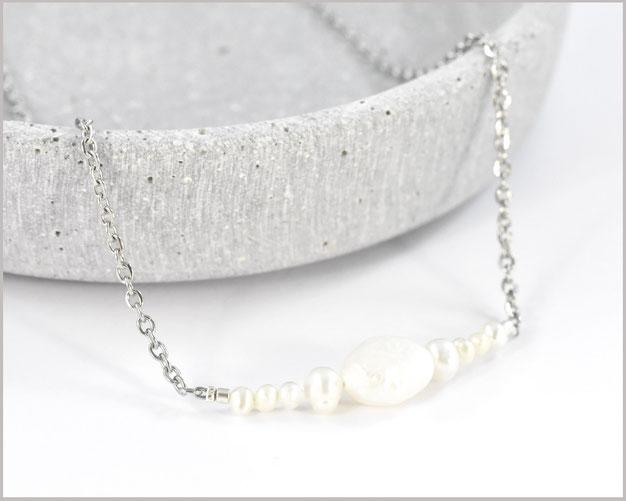 Süsswasser Perlenkette Edelstahl vergoldet - in deiner Wunschlänge