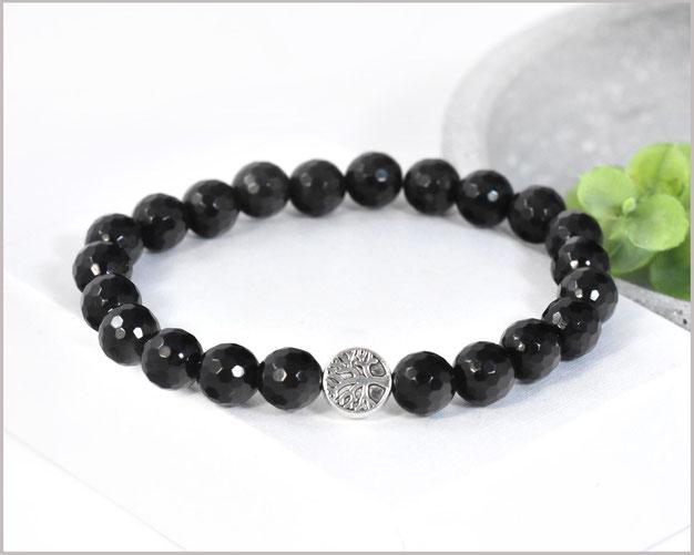 Obsidian Edelstein Armband 8 mm mit Baum des Lebens
