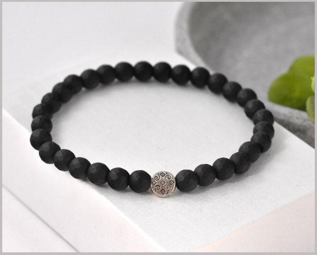Achat Edelsteinarmband mit facettierten 6 mm Steinen / matt und Hamsa Hand