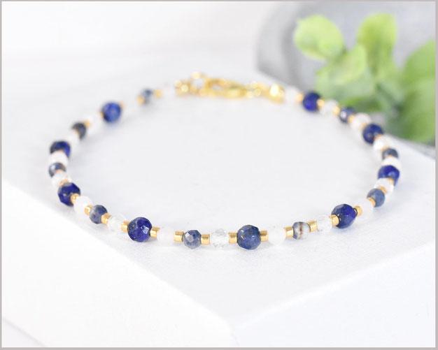 Saphir - Rosenquarz - Bergkristall - Lapislazuli Edelstein Armband 3 mm mit 925 Silber / vergoldet