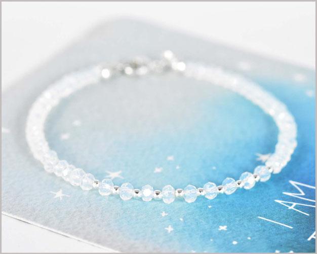 Facettiertes Opal Edelsteinarmband in 2 x 3 mm mit 925 Silber