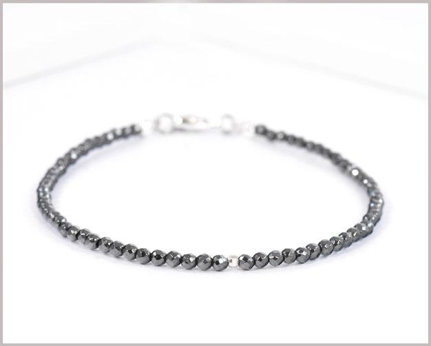 Hämatit Edelsteinarmband 2,5 mm mit 925 Silber