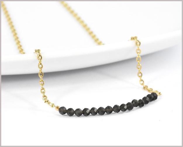 Obsidian Edelstein Kette 3 mm mit Edelstahl vergoldet - Länge wählbar