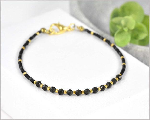 Edelstein Armband mit 3 mm Schneeflocken-Obsidian kombiniert mit Myuki Perlen Mix