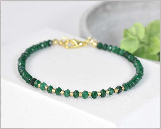 Jade Edelstein Armband 2 mm mit Silberperle
