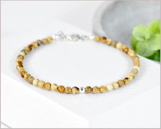 Bild Jaspis Edelstein Armband in echten 3 mm Steinen