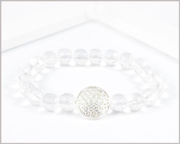 Bergkristall Armband 8 mm mit Blume des Lebens