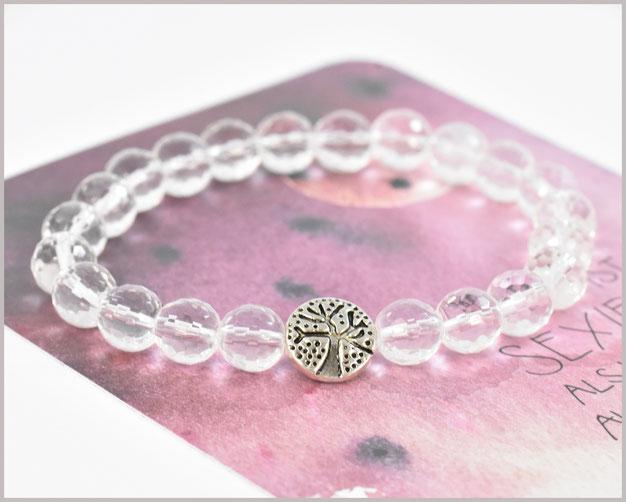 Bergkristall Armband 8 mm mit Lebensbaum