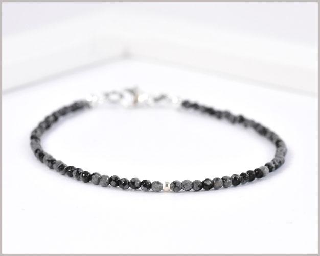 Edelsteinarmband mit 2 mm Obsidian
