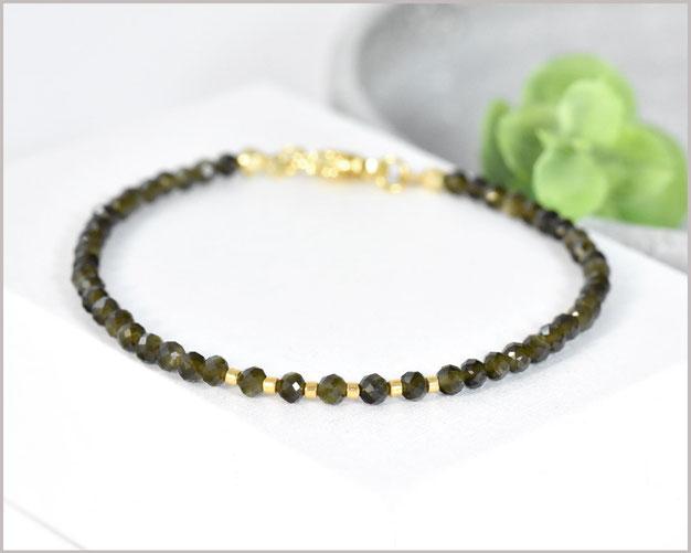 Edelstein Armband mit 3 mm Obsidian Goldglanz & 925 Silber vergoldet