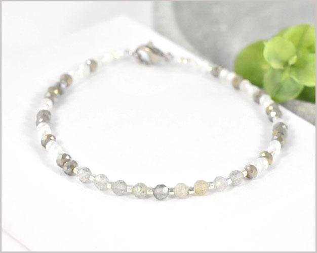 Labradorit Edelsteinarmband mit facettierten 3 mm Steinen und Rocailles Perlen