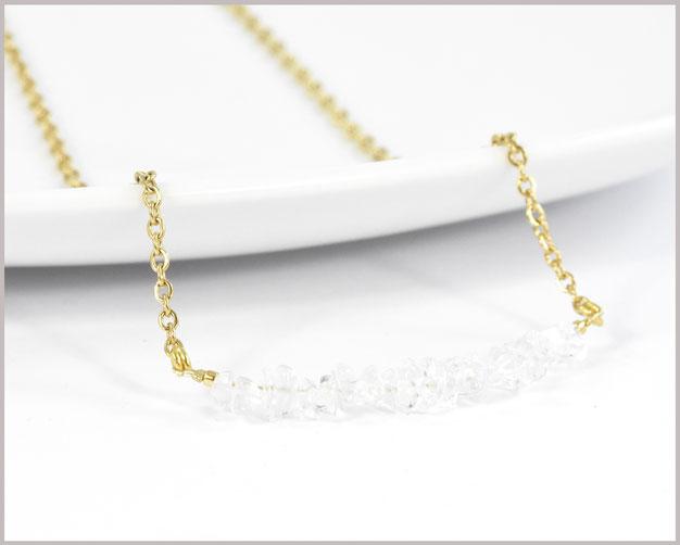 Bergkristall Splitter 3 - 7 mm mit Edelstahl Kette vergoldet #2
