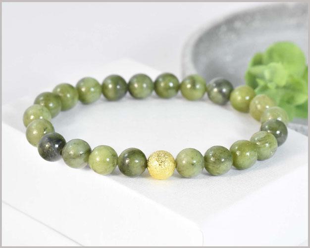 Jade Edelstein Armband 4 mm mit Tibetperle