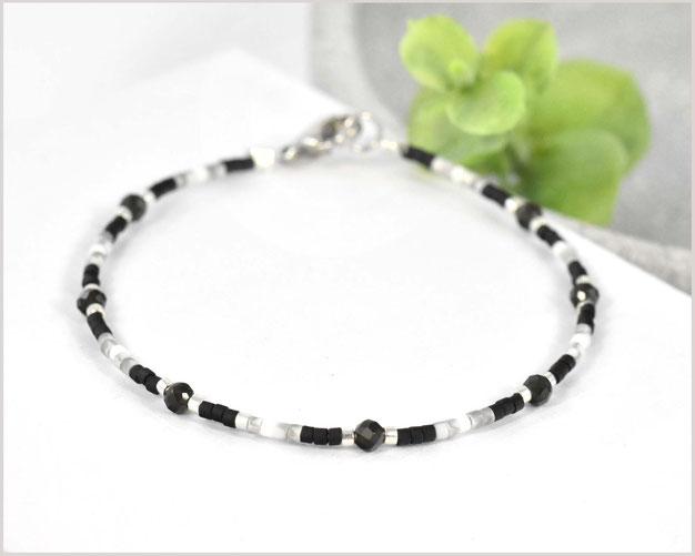 Edelstein Armband mit 3 mm Schneeflocken-Obsidian kombiniert mit Myuki Perlen Mix 3