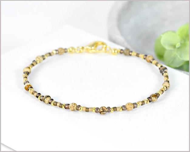Bild Jaspis Edelstein Armband in echten 3 mm Steinen kombiniert mit Miyuki Perlen