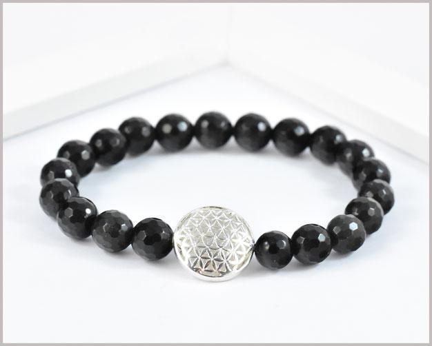 Obsidian Armband 8 mm mit Blume des Lebens