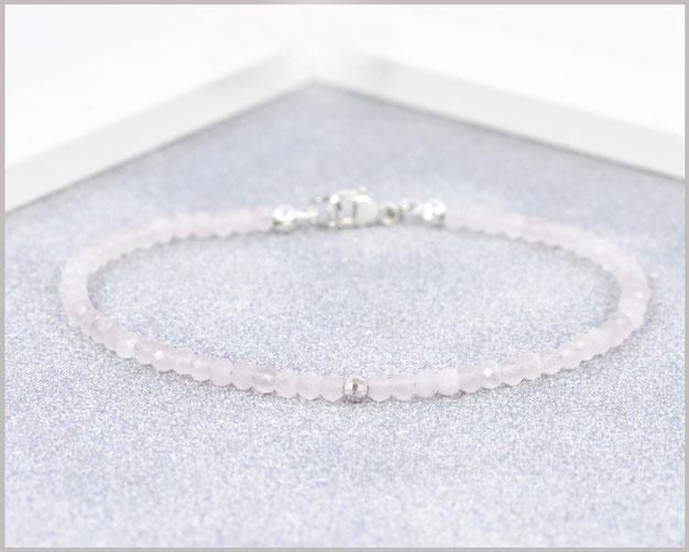 Rosenquarz Armband 3 mm mit 925 Silber