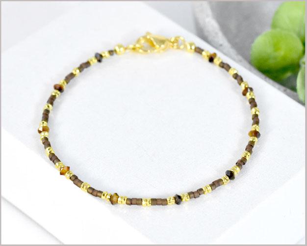 Wunderschönes Tigerauge Edelstein Armband mit 3 mm Kegel Steinen & Miyuki Perlen Mix