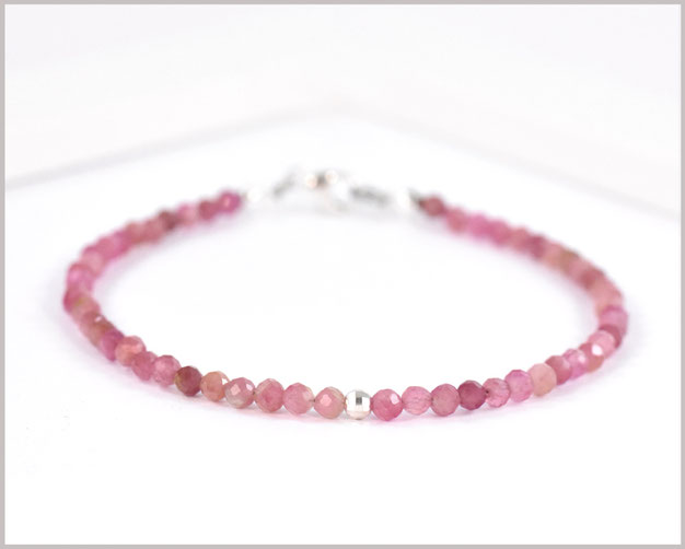 Edelsteinarmband mit 3 mm Turmalin rosa