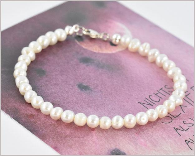 Süsswasser Perlen Armband mit 4 mm und 925 Silber