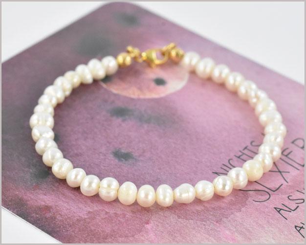 Süsswasser Perlen Armband mit 4 mm und 925 Silber vergoldet