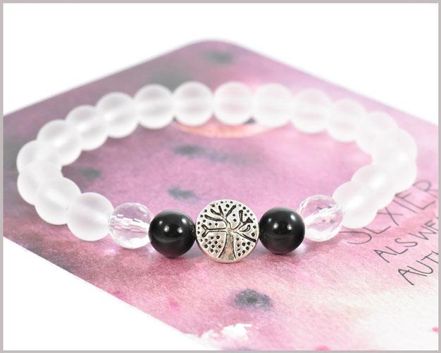 Bergkristall Armband 8 mm mit Lebensbaum und 2 Achat Perlen