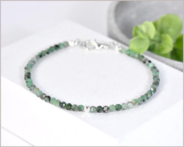 Edles Smaragd Edelstein Armband 3 mm mit 925 Silber