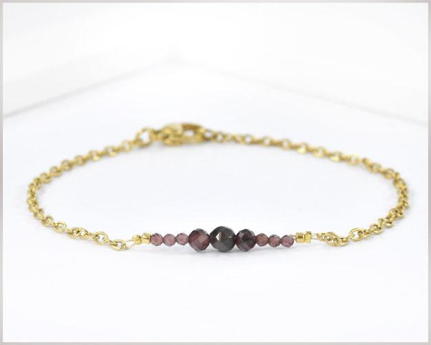 Granat Edelstein Armband 2 - 5 mm mit Edelstahl vergoldet
