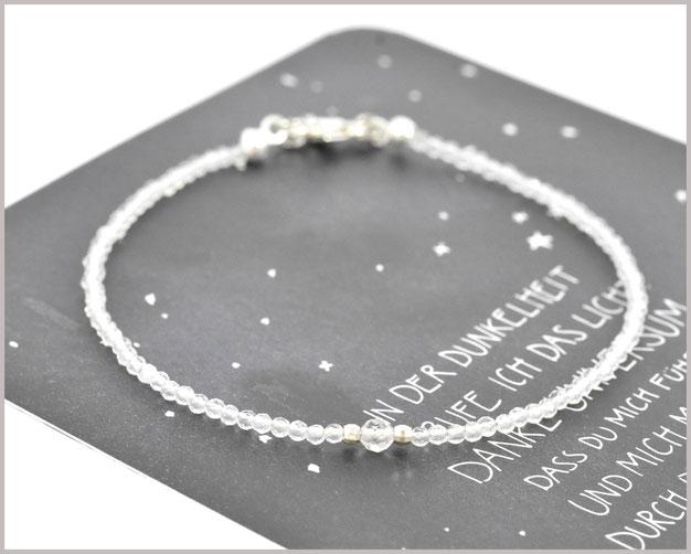 Bergkristall Edelsteinarmband mit 2 + 3 mm Perlen und 925 Silber