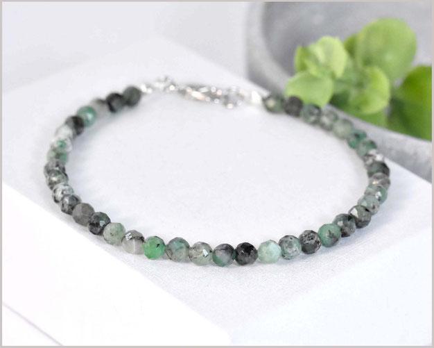 Edles Smaragd Edelstein Armband 4 mm mit 925 Silber