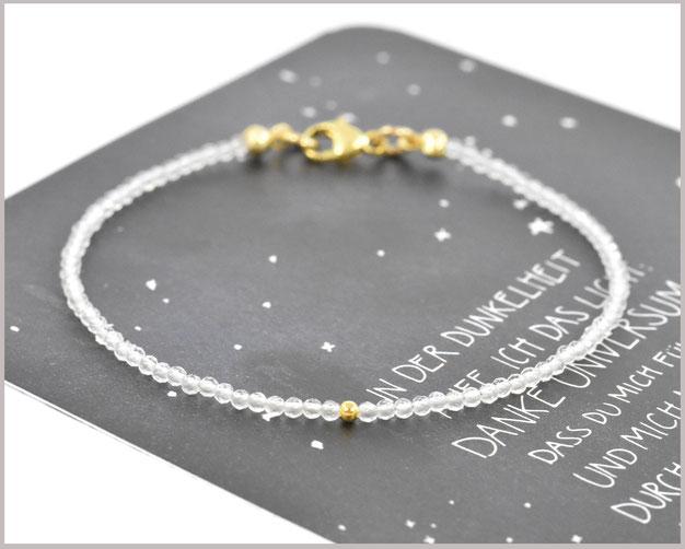 Bergkristall Armband mit 2 mm Perlen und 925 Silber / vergoldet