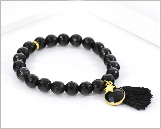 Obsidian Edelstein Armband 8 mm mit Quaste und Stern