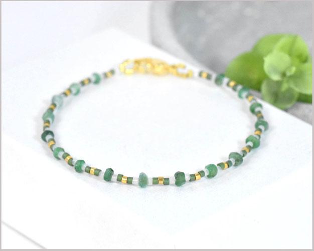 Smaragd Edelstein Armband Miyuki Mix  - Unikat Einzelstück