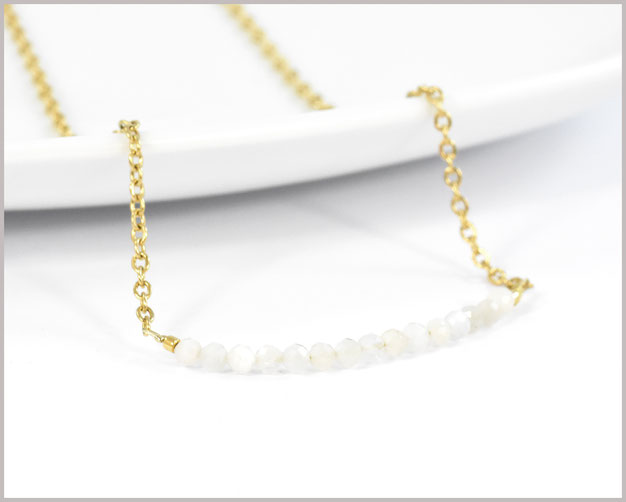 Mondstein Edelstein Kette 3 mm mit Edelstahl vergoldet - Länge wählbar