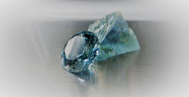 Edelstein: Aquamarin  - Herkunft: Mozambique - Schliff: Standardbrillant - Gewicht: 2,5ct.