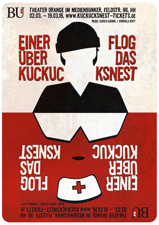 Plakat Einer flog über das Kuckucksnest Hamburg Theater Orange Bühnenstudio 2016