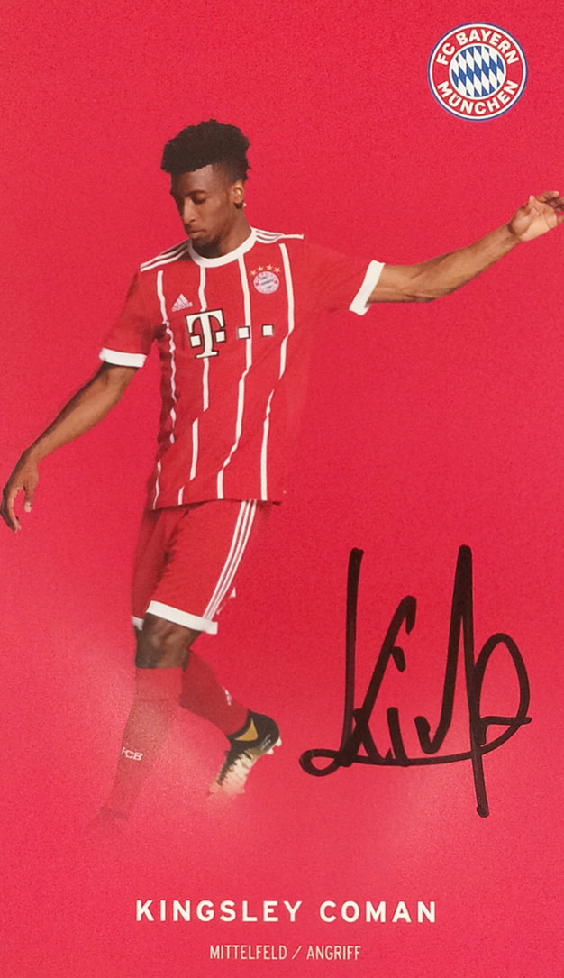 Kingsley Coman, French, German and Italian Champion, Silver European Championship 2016, Autograph by Mail