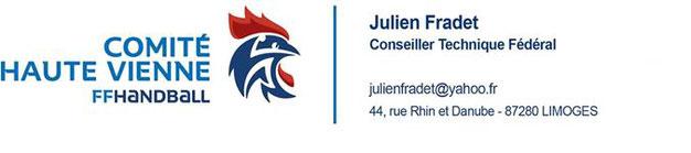 Carte de visite de Julien Fradet (comité Haute-Vienne de handball) - JA Isle Handball - Isle