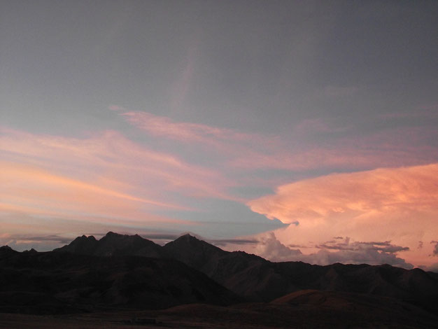 Sunset over the mountains, Ayacucho and Cusco, Central Highlands.