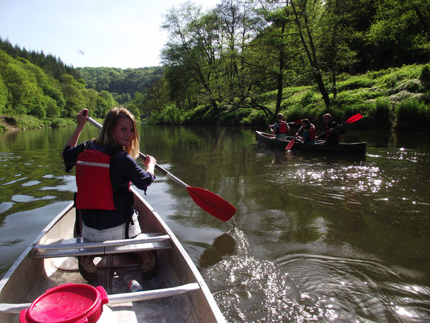 Monmouth canoes, River Wye, Forest of Dean, England, Wales border.