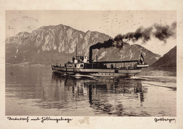 Historical paddle Steamer cruising the Attersee