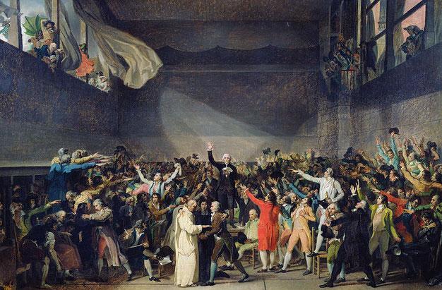 """Jacques Louis David, """"Il giuramento della Pallacorda"""" (1791)"""