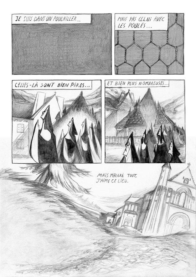 salembier-francois-illustrateur-auteur-de-bd-scénariste-freelance-nb-noir-blanc-crayon-papier-bois-niv-gris-bonne-soeur-église-couvent-fontevraud-prison-poule