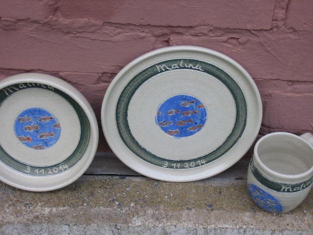 Keramik Teller und Tasse für Kinder