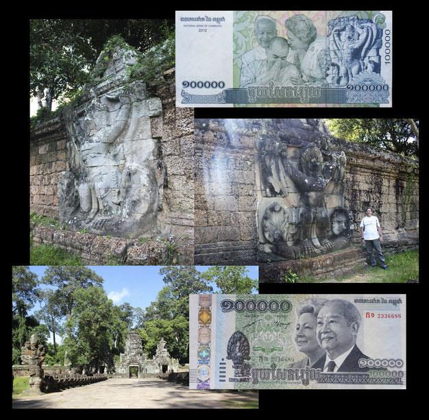 100.000 riels Camboya con Garuda y nagas en Templo Preah Khan